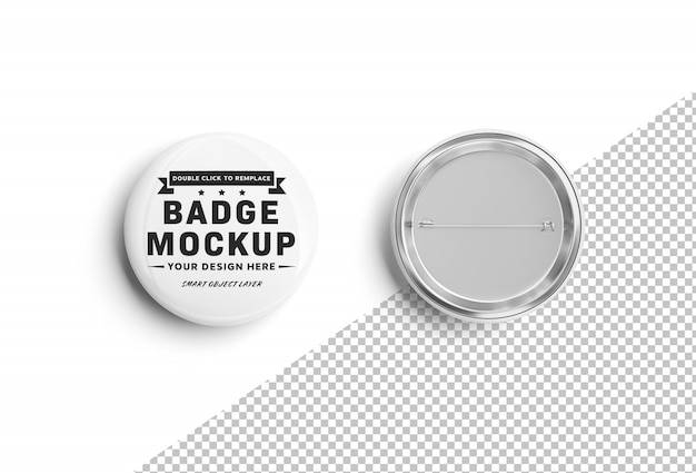 Isolated cut out blank pin mockup on white Premium Psd