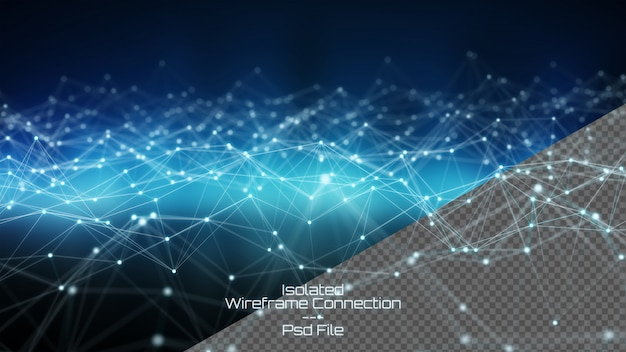 Isolated cut out digital wireframed network on dark background 3d rendering Premium Psd