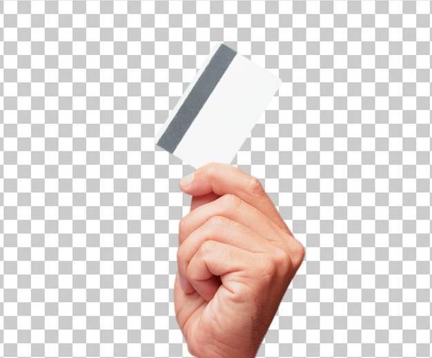 Isolated male hand holding a credit card Premium Psd