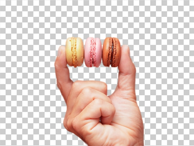 Isolated male hand holding sweet bisquits Premium Psd
