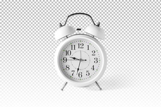 Isolated white alarm clock Premium Psd