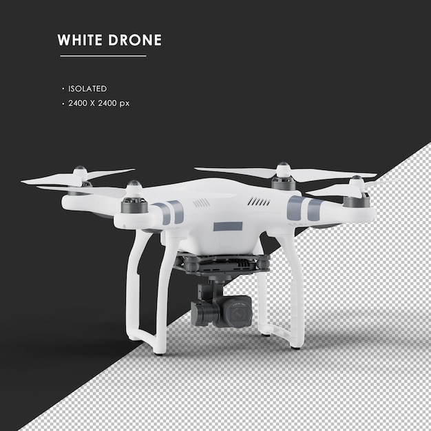 Isolated white drone from top front left angle view Premium Psd