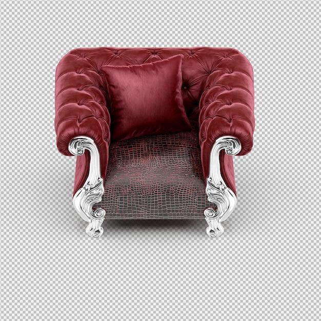 Isometric armchair 3d rendering Premium Psd