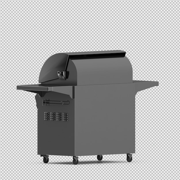 Isometric barbecue grill 3d isolated render PSD file