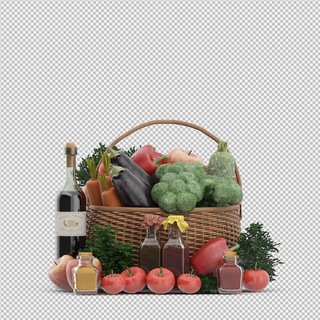 Isometric basket with vegetables and fruits in wicker basket Premium Psd