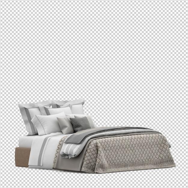 Изометрическая кровать 3d визуализации изолированы Premium Psd