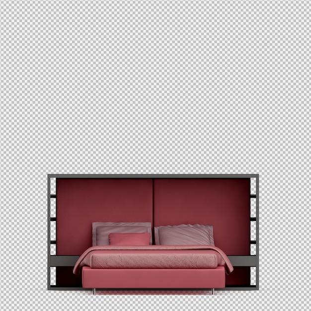 Isometric bed 3d render Premium Psd