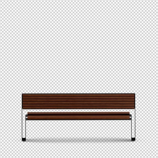 Isometric bench 3d render Premium Psd