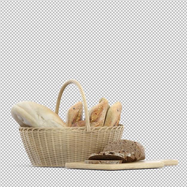 Isometric bread 3d isolated Premium Psd