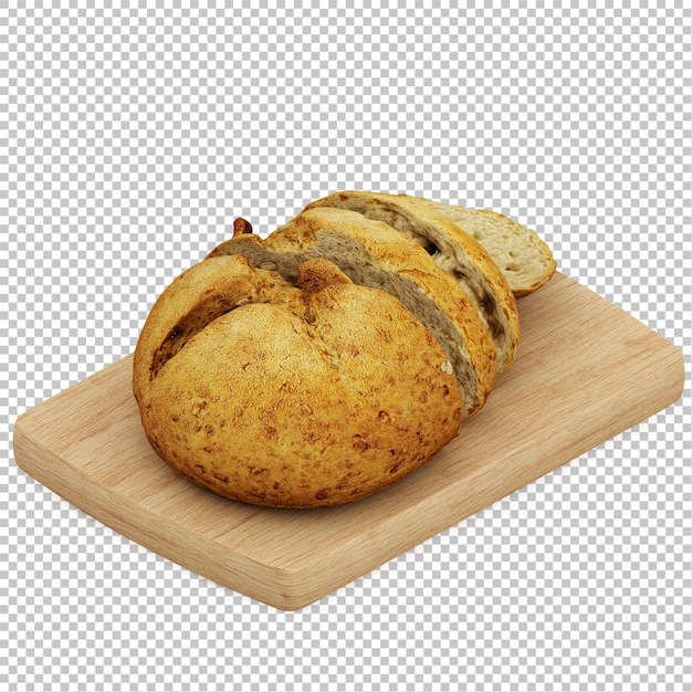 Isometric bread on wooden cutting board Premium Psd