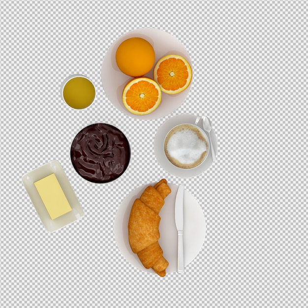 Isometric breakfast 3d isolated Premium Psd