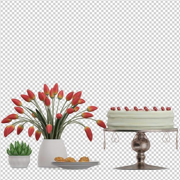 Isometric cake dessert Premium Psd