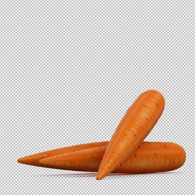 Изометрические морковь 3d визуализации Premium Psd