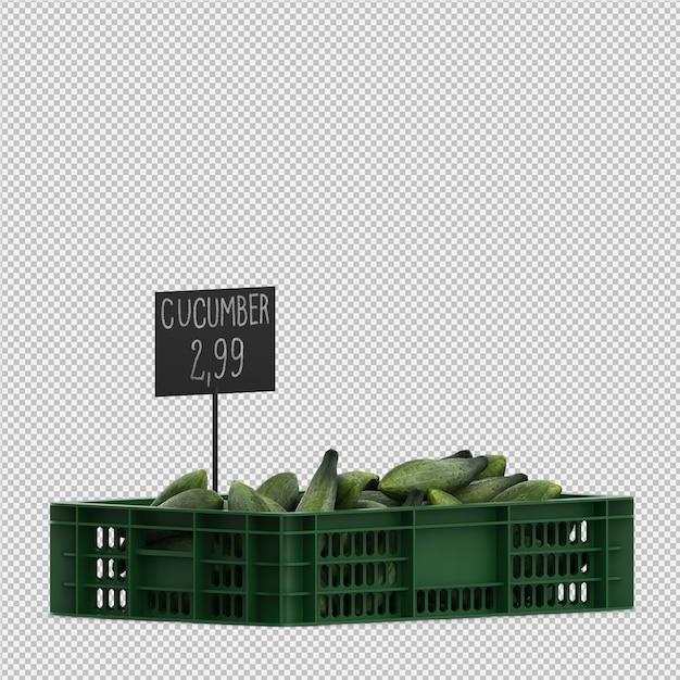 Isometric cucumbers 3d render Premium Psd