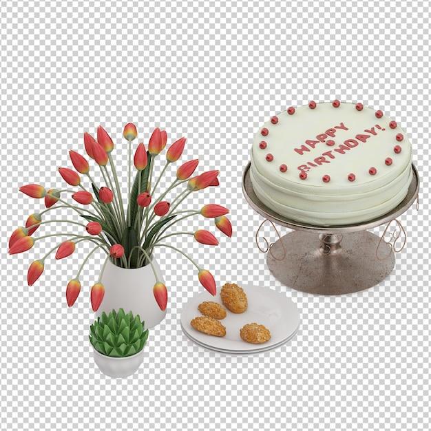 Isometric dessert cake Premium Psd