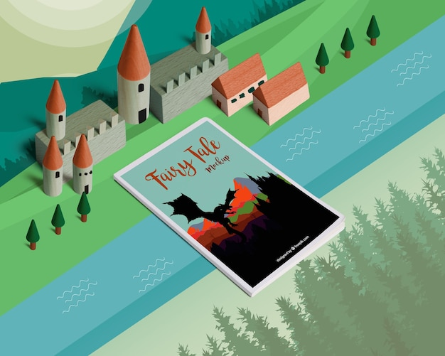 Isometric fairy tale mockup with cover Free Psd