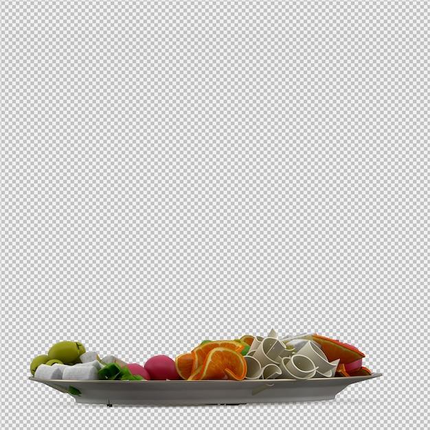 Isometric food on plate 3d render Premium Psd