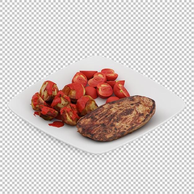 Isometric food on plate Premium Psd