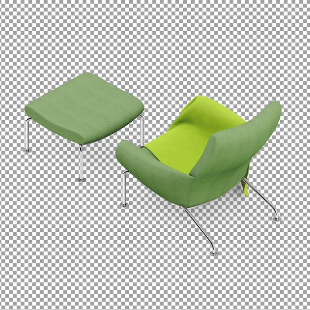 Isometric green armchair with leg rest | Premium PSD File