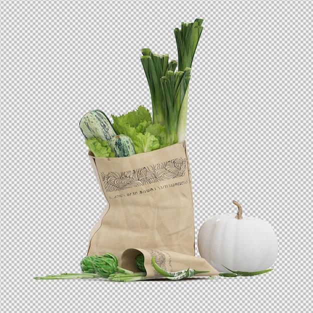 Isometric grosery bag 3d render Premium Psd
