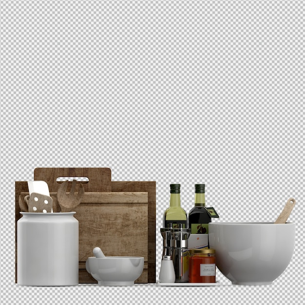 Isometric kitchen utensils 3d render Premium Psd