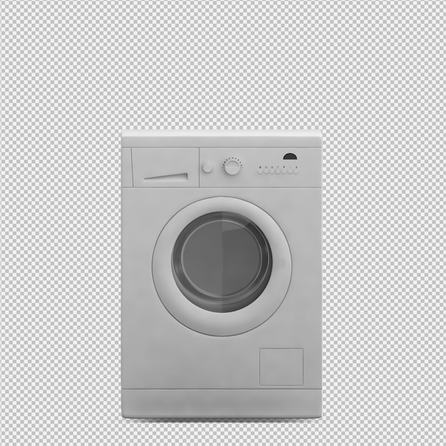 Isometric laundry machine 3d render Premium Psd