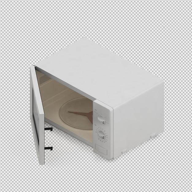 Isometric microwave 3d render Premium Psd