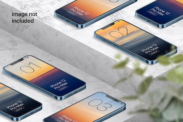 아이소 메트릭 휴대폰 화면 모형 프리미엄 PSD 파일