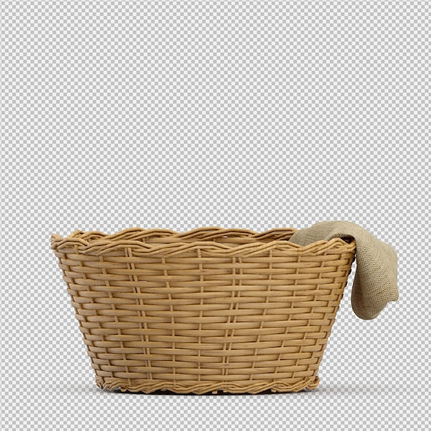Isometric picnic basket isolated 3d render Premium Psd