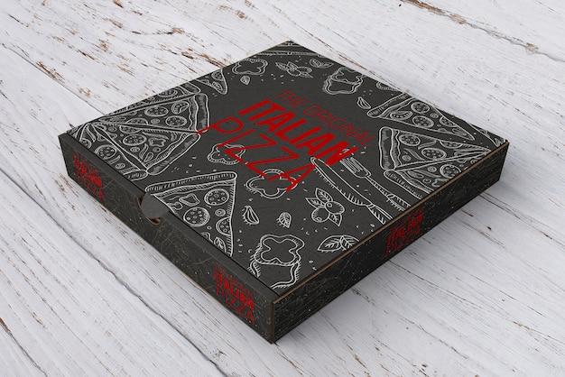 Isometric pizza box mockup Free Psd