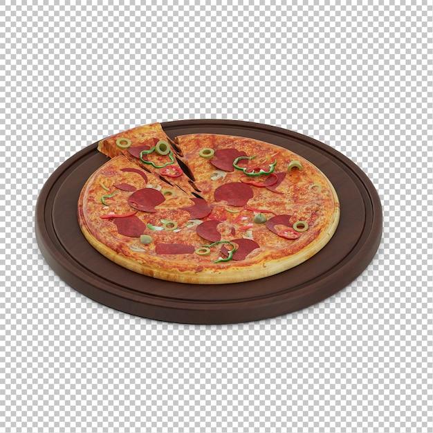 Изометрическая пицца деревянная разделочная доска Premium Psd