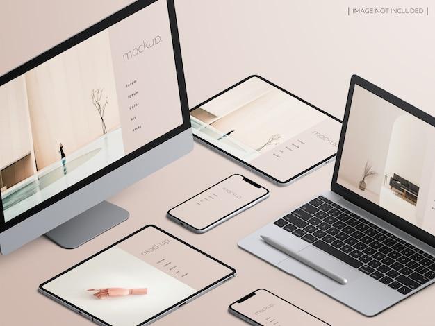 Isometric responsive devices screen mockup Premium Psd