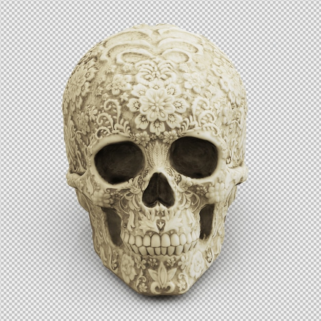 Isometric skull 3d isolated render Premium Psd
