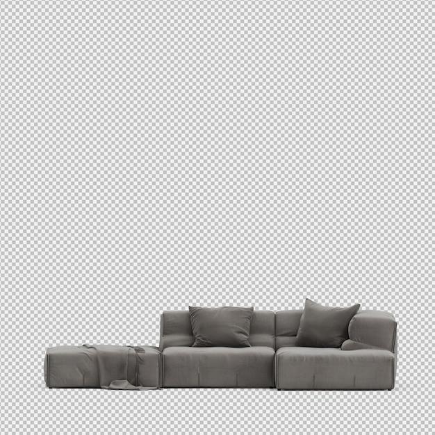 Isometric sofa 3d isolated render Premium Psd