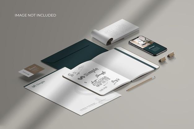 Isometric stationery branding - mockup scene creator Premium Psd