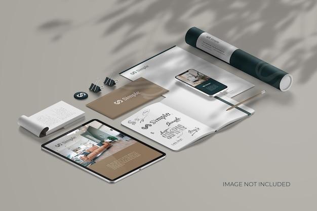 Isometric stationery branding - mockup scene creator Free Psd