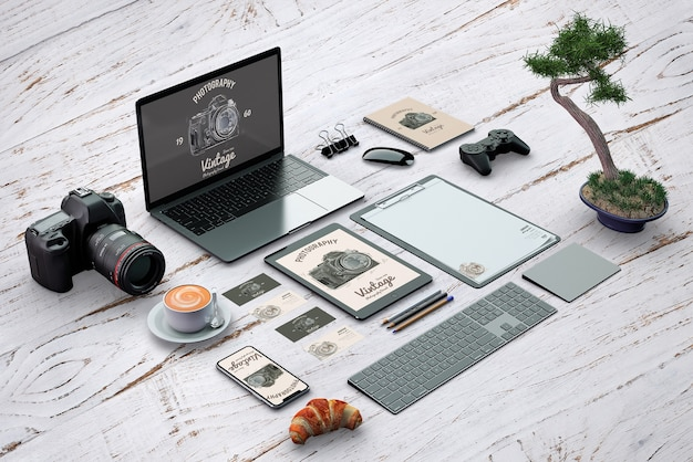 Isometric stationery mockup with photography concept Free Psd