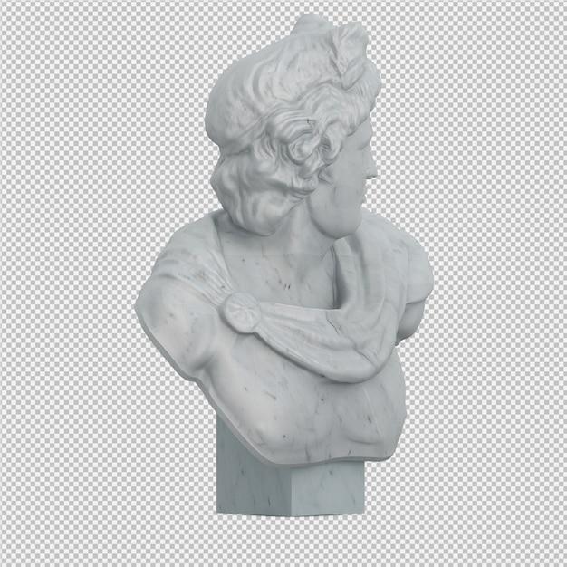 Isometric statue 3d isolated render Premium Psd