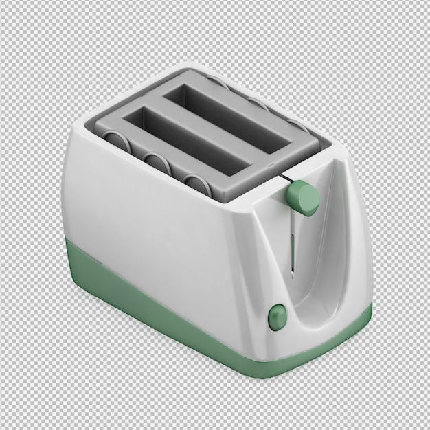 Isometric toaster 3d render PSD file | Premium Download
