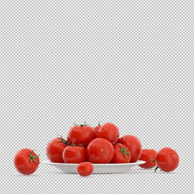 Изометрические помидоры 3d визуализации Premium Psd