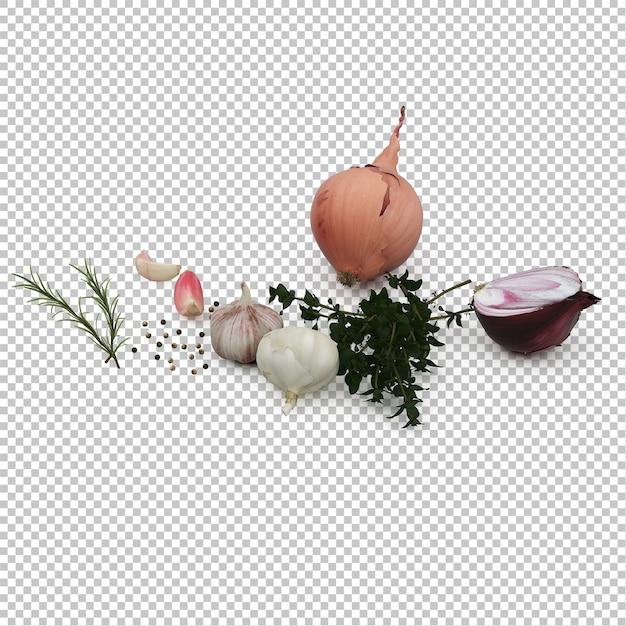 Isometric vegetables Premium Psd