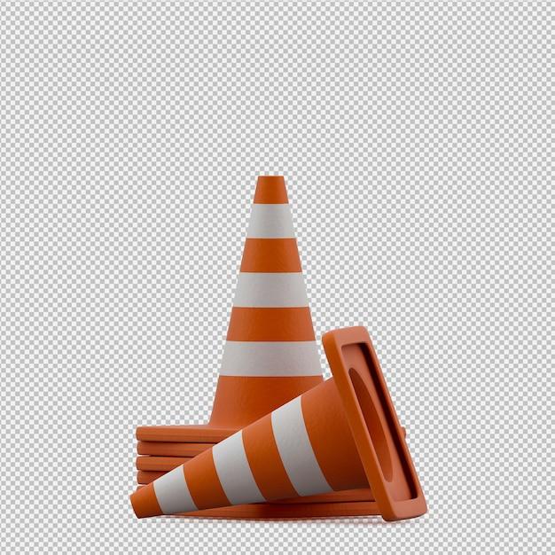 Isometric warning cone 3d render Premium Psd
