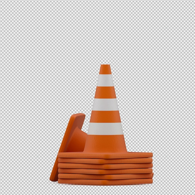 Isometric warning cone 3d render Premium Psd