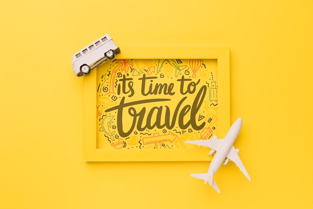 It's time to travel, lettering on yellow frame with van and airplane Free Psd