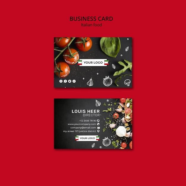 Italian cuisine business card concept Free Psd