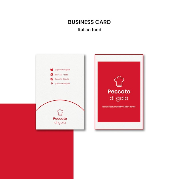 Italian cuisine business card style Free Psd