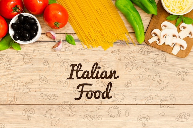 Italian food background with tasty ingredients PSD file
