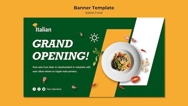 Italian food banner template design Free Psd