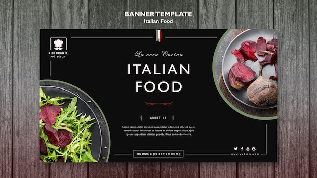 Italian food banner template Free Psd