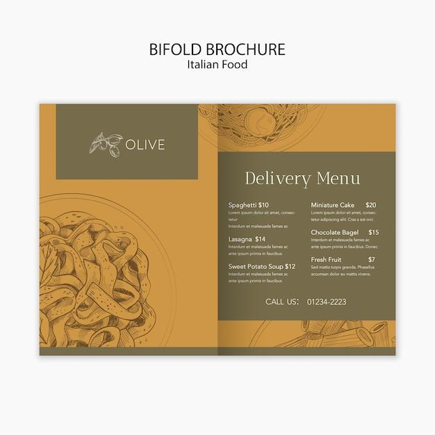 Italian food bifold brochure template Free Psd